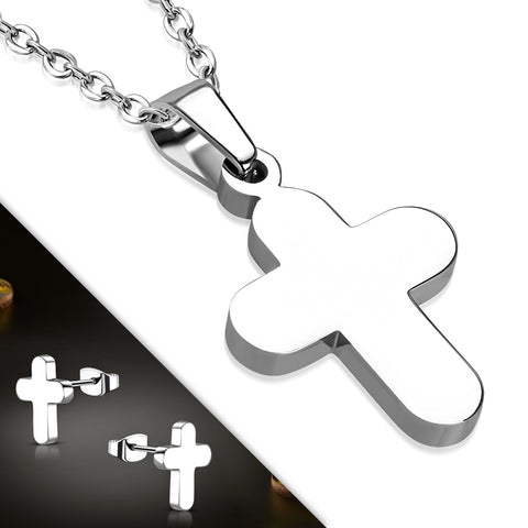 Stainless Steel Latin Cross Pendant & Pair of Stud Earrings (SET)