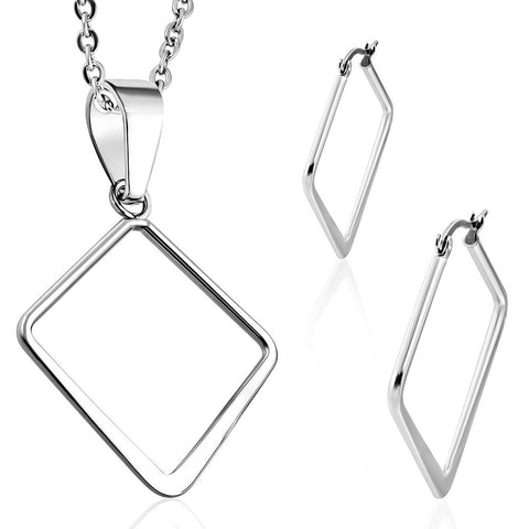 Stainless Steel Square Charm Pendant & Pair of Clip Back Earrings (SET)