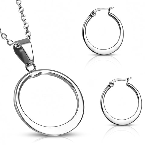 Stainless Steel Pendant & Pair of Hoop Clip Back Earrings (SET)