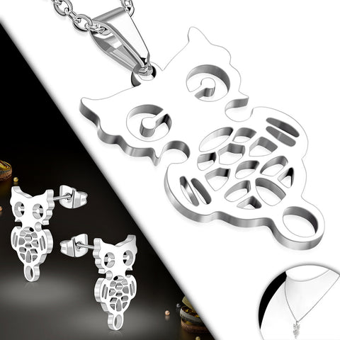 Stainless Steel Cut-out Owl Charm Chain Necklace & Pair of Stud Earrings (SET)