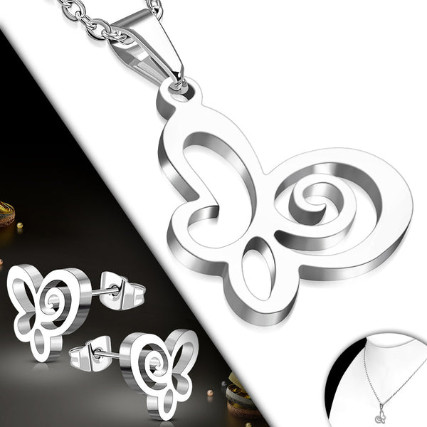 Stainless Steel Butterfly Charm Chain Necklace & Pair of Stud Earrings (SET)