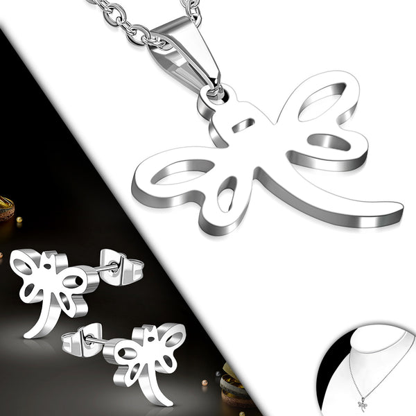 Stainless Steel Dragonfly Charm Chain Necklace & Pair of Stud Earrings (SET)