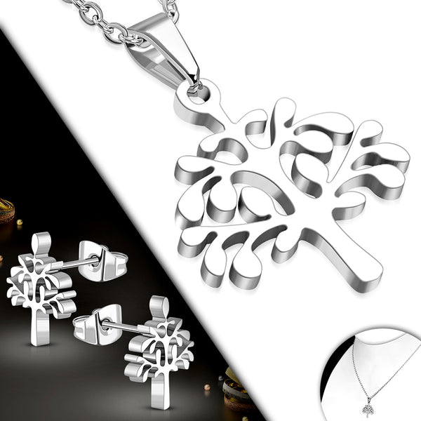 Stainless Steel Bodhi Tree Charm Chain Necklace & Pair of Stud Earrings (SET)