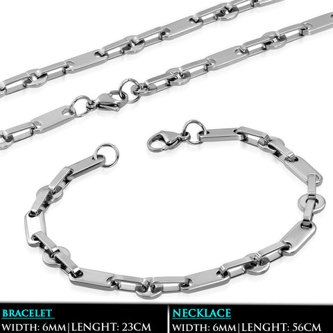 Stainless Steel Men's Oval Link Chain & Bracelet (SET)