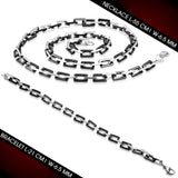 Stainless Steel 2-tone Lobster Claw Clasp Square Link Chain & Bracelet (SET)