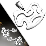 Stainless Steel Rocking Baby Horse Pendant & Pair of Stud Earrings (SET)