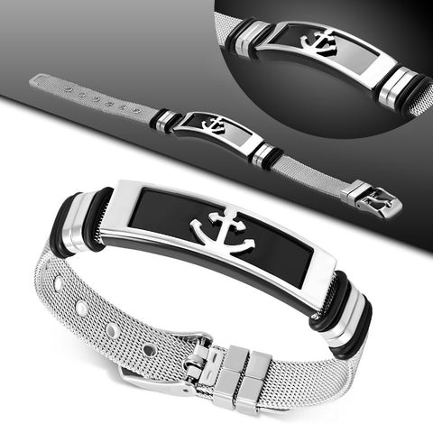 Stainless Steel Anchor Mesh Bracelet