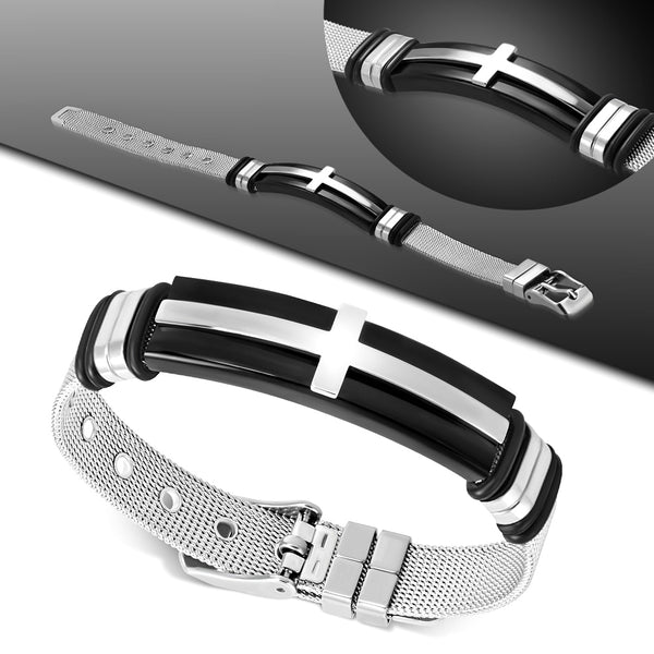 Stainless Steel Latin Cross Mesh Bracelet