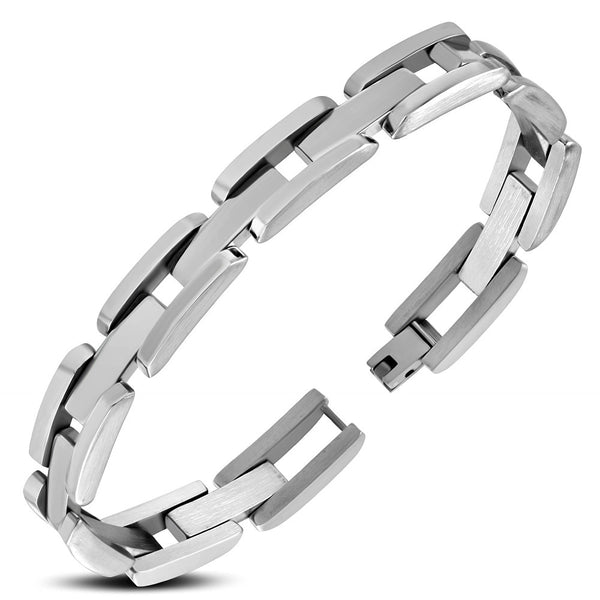 Stainless Steel Polish Finished Mens Panther Link Bracelet