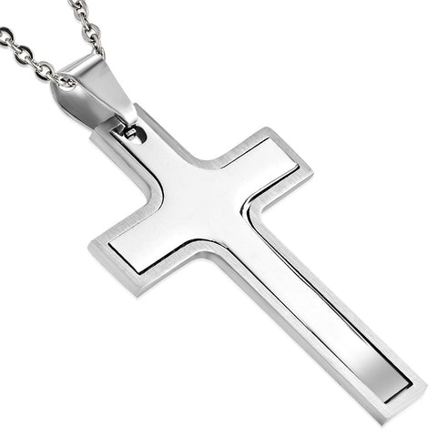 Stainless Steel 2-Part Cross Pendant