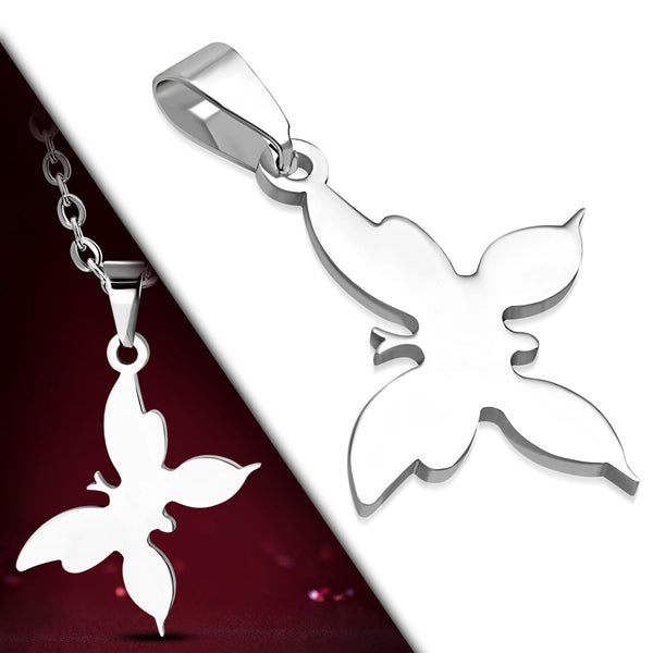 Stainless Steel Engravable Butterfly Charm Pendant