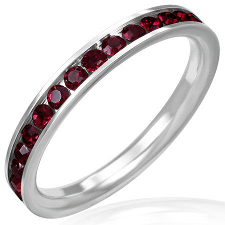 Stainless Steel Channel-Set Eternity Band Ring with Gem Stones