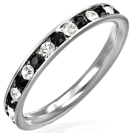 Channel-Set Eternity Comfort Fit Band Ring with Clear & Jet Black Cubic Zirconia