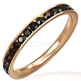 Stainless Steel Channel-Set Eternity Band Ring with Black Onyx