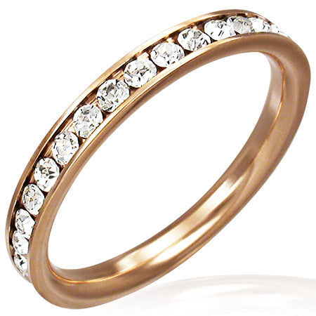 Channel-Set Eternity Band Ring with Cubic Zirconia