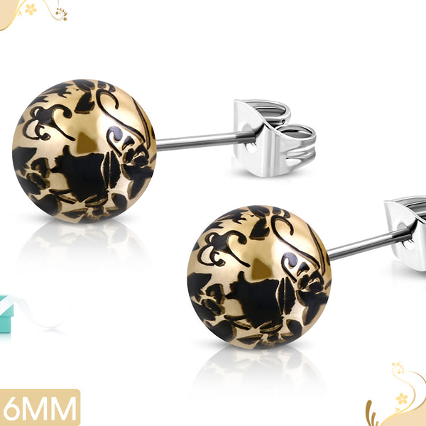 Vintage Acrylic Bead on Stainless Steel Stud Earrings (pair)