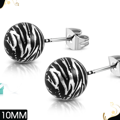 Art Acrylic Bead Ball on Stainless Steel Stud Earrings (pair)