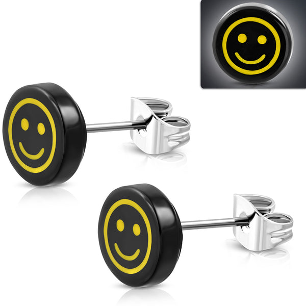 Stainless Steel with Black Acrylic Emoticon Stud Earrings (pair)