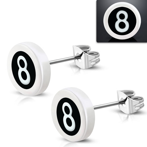Stainless Steel Stud with White Acrylic 3-tone Number 8 Round Circle Earrings (pair)