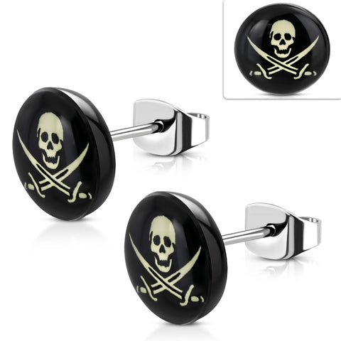 Stainless Steel with Acrylic 3-tone Sword Cross Skull Circle Stud Biker Earrings (pair)