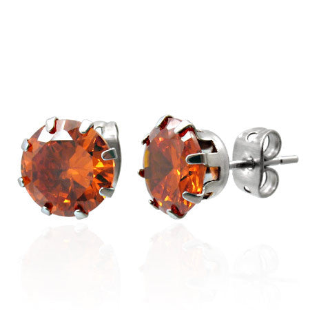 7mm Stainless Steel Prong-Set Flower Circle Stud Earrings with Gem Stones (Pair)
