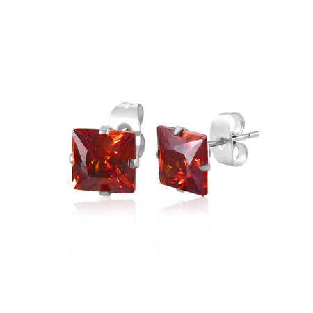 3mm Stainless Steel Prong-Set Square Stud Earrings with Gem Stones (Pair)
