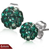Stainless Steel Argil Disco Ball Shamballa Stud Earrings