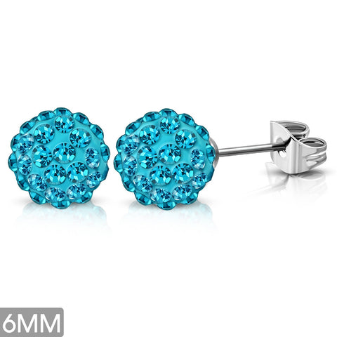 6mm Stainless Steel Argil Disco Ball Shamballa Stud Earrings with Aquamarine Cubic Zirconia (pair)