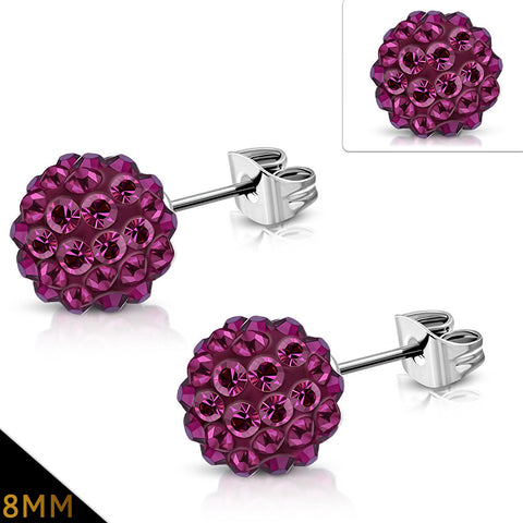 Stainless Steel Shamballa Stud Earrings with Pink Red Cubic Zirconia (pair)