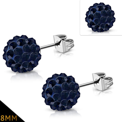 Stainless Steel Argil Disco Ball Shamballa Stud Earrings with Dark Sapphire Cubic Zirconia (pair)