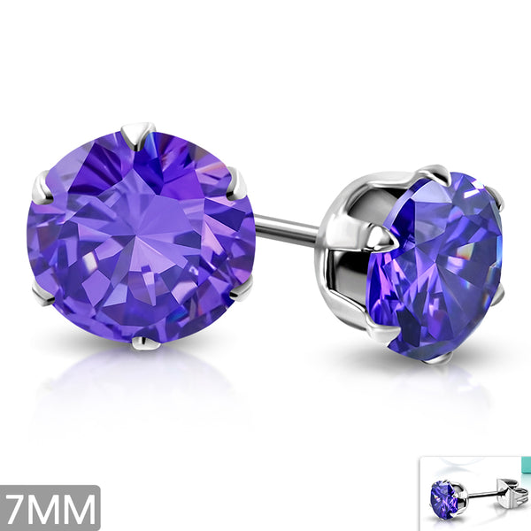 Stainless Steel Stud Earrings with Iolite Violet/Purple Cubic Zirconia (pair)
