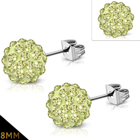 Stainless Steel Shamballa Stud Earrings with Jonquil Cubic Zirconia (pair)