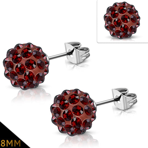 Stainless Steel Shamballa Stud Earrings with Brown Red Cubic Zirconia (pair)