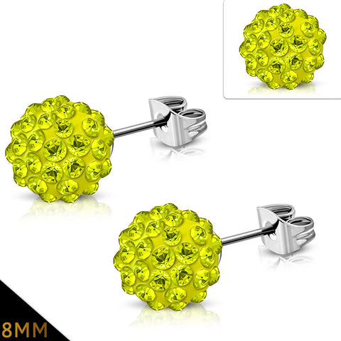 Stainless Steel Shamballa Stud Earrings with Yellow Cubic Zirconia (pair)