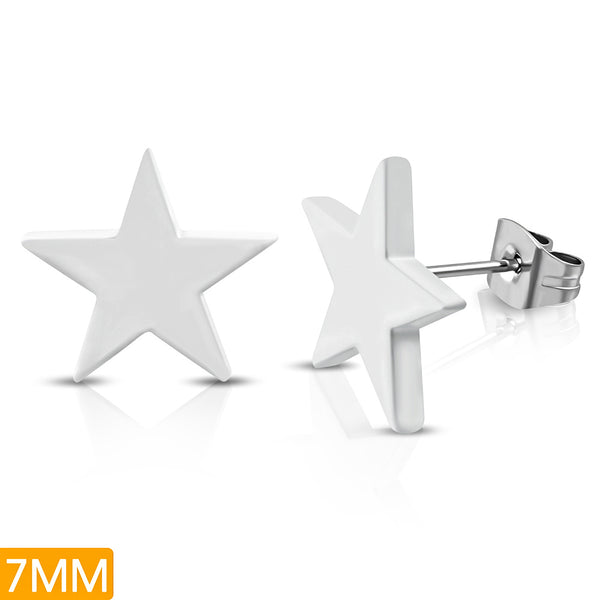 White Painted Stainless Steel Engravable Star Stud Earrings (pair)
