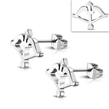 Stainless Steel Archery Bow & Arrow Stud Earrings