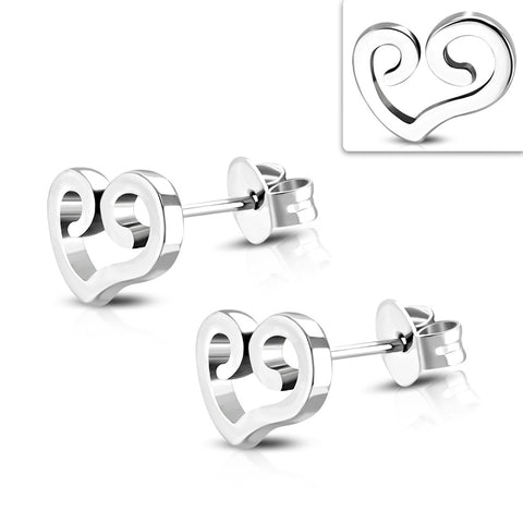 Stainless Steel Spiral Open Love Heart Stud Earrings (pair)
