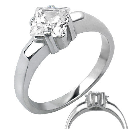 Stainless Steel Prong-Set Ring with Cubic Zirconia
