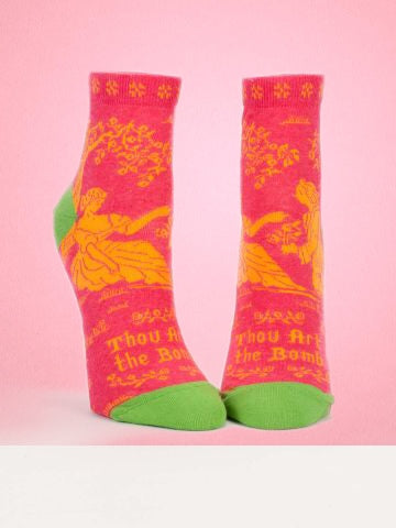 Women's socks at great prices and with sassy sayings like our Thou Art The Bomb socks - Comfy soft fabric in cool colors are heaven for your feet.