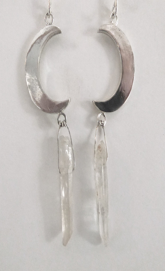 Sterling silver and crystal earrings. Handcrafted jewelry / rock n roll style/