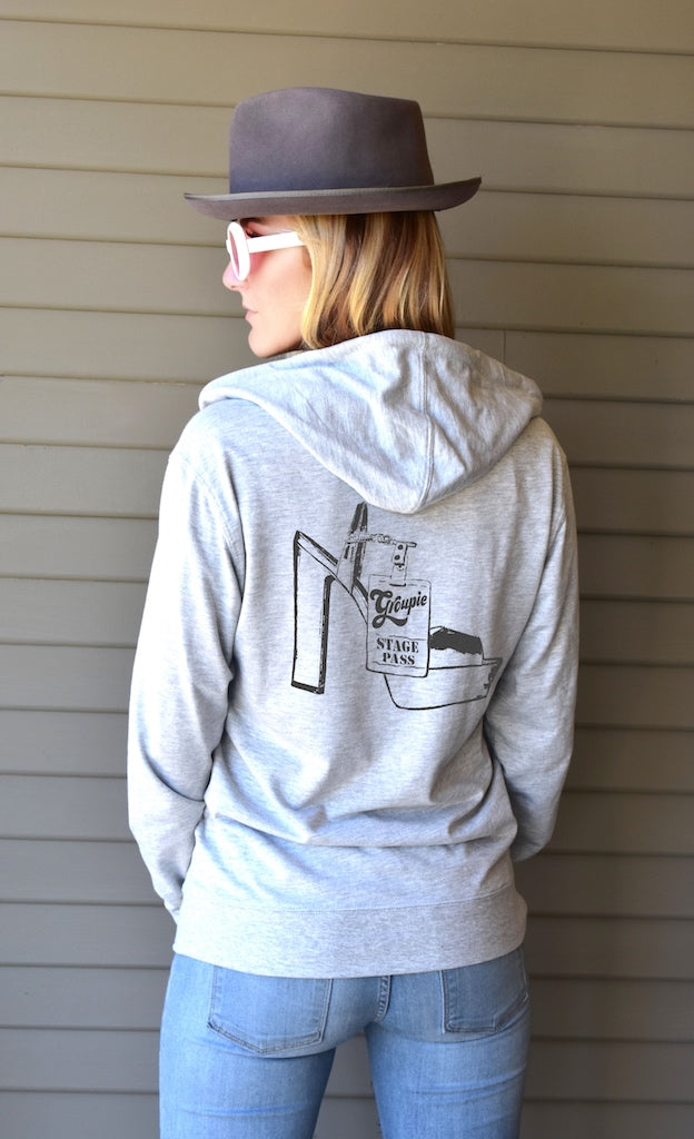 Women's zip up hoodie is super comfy, featuring Groupie's original Stage Pass graphics