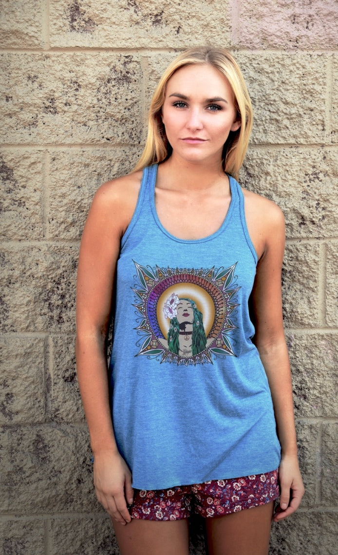 Women's tee shirts and tops featuring original designs with a rock and roll vibe.