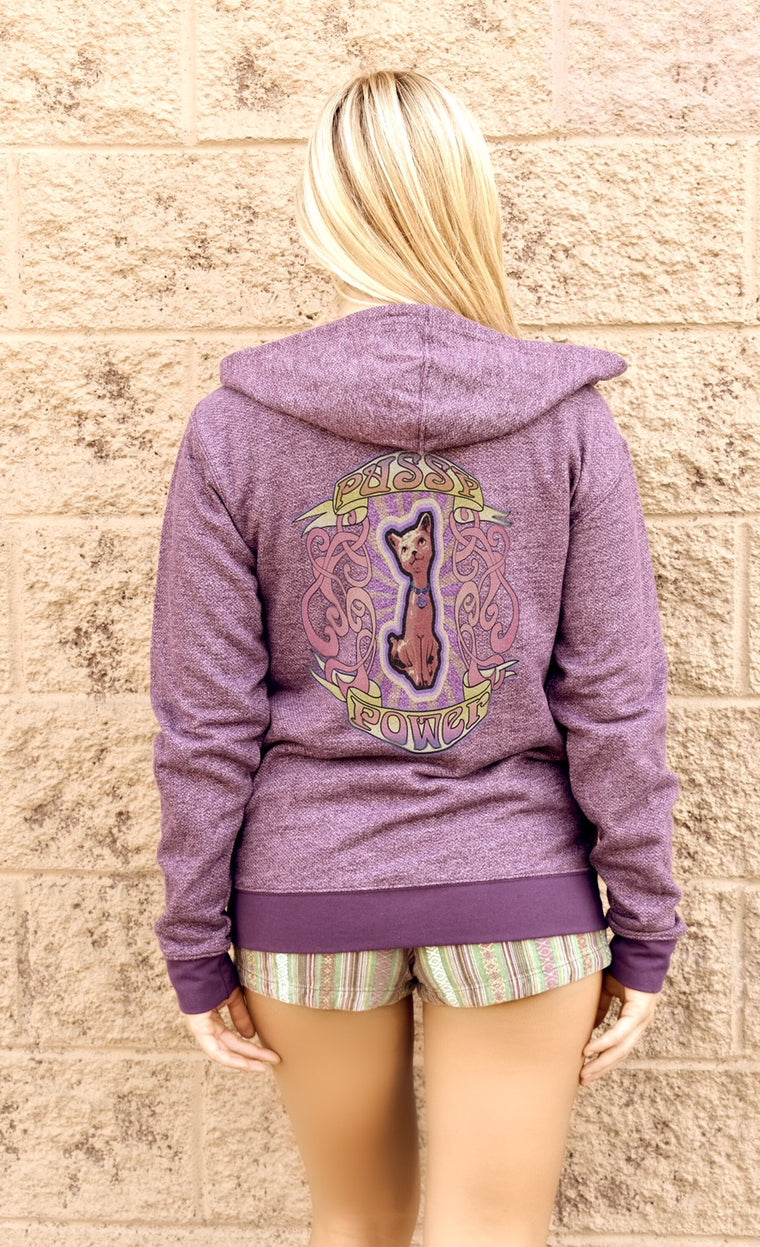 Women's hoodies like this Pussy Power zip up number tell the world who the real Boss Girl is. A favorite for cat lovers too.