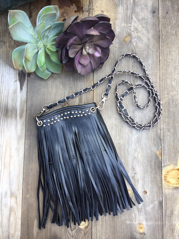 BLACK FRINGED AND STUDDED