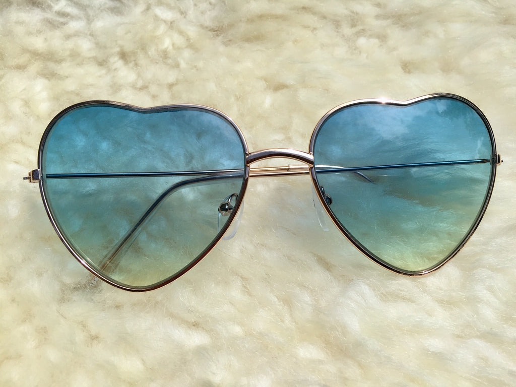 Lady Love Heart Shaped sunglasses with blue ombre lense are straight out of 1968... groovy fashion for hippie lovers and boho festival fans.