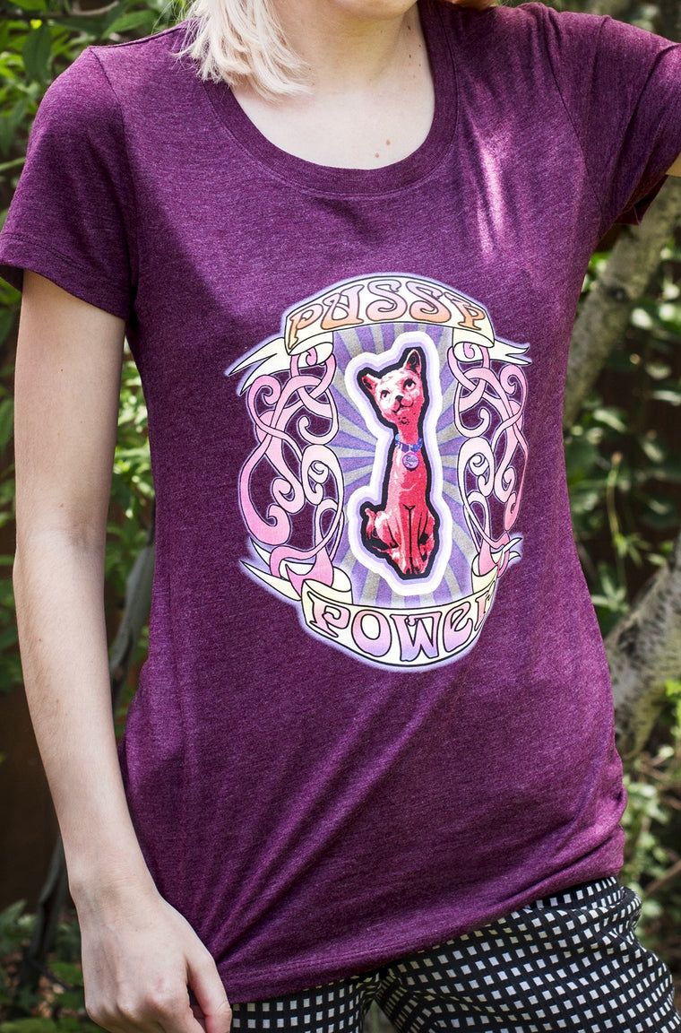 Rock this classic Pussy Power women's tee and watch the reaction you get. Cat lovers and girls bosses unite.