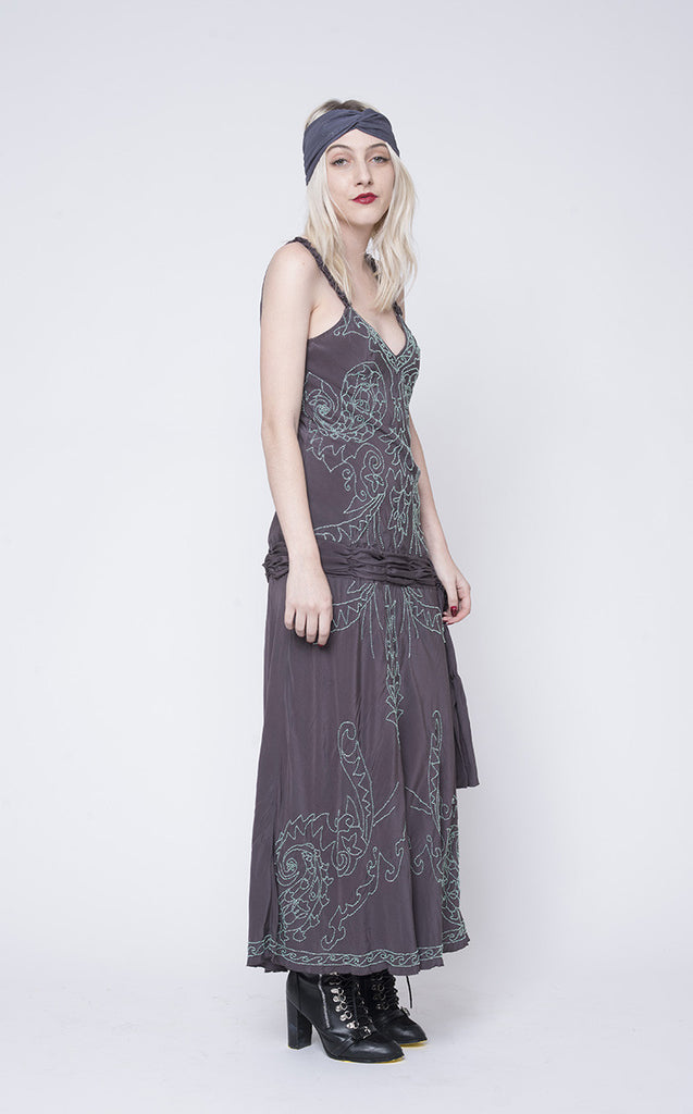 vintage beaded 1920's dress is a show stopper.