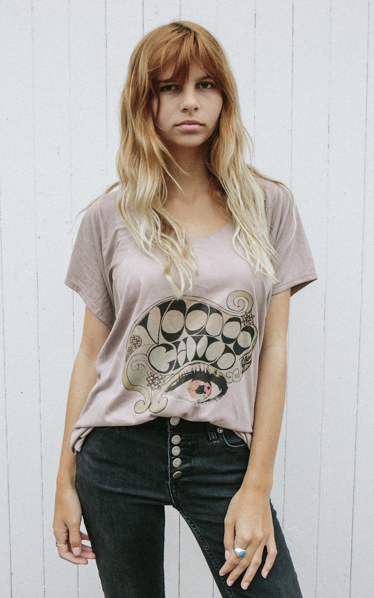 Comfy women's top is magical. Rock & roll fashion in soft pebble brown, designed to look any time - any place.