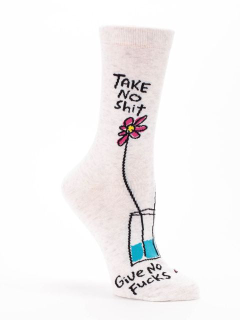 Women's crew socks don't have to be dull... rock these Groupie lovin' TAKE NO SH!T socks and go get 'em sister! They'll make your feet smile! Soft luxurious combed cotton are heaven for your feet.