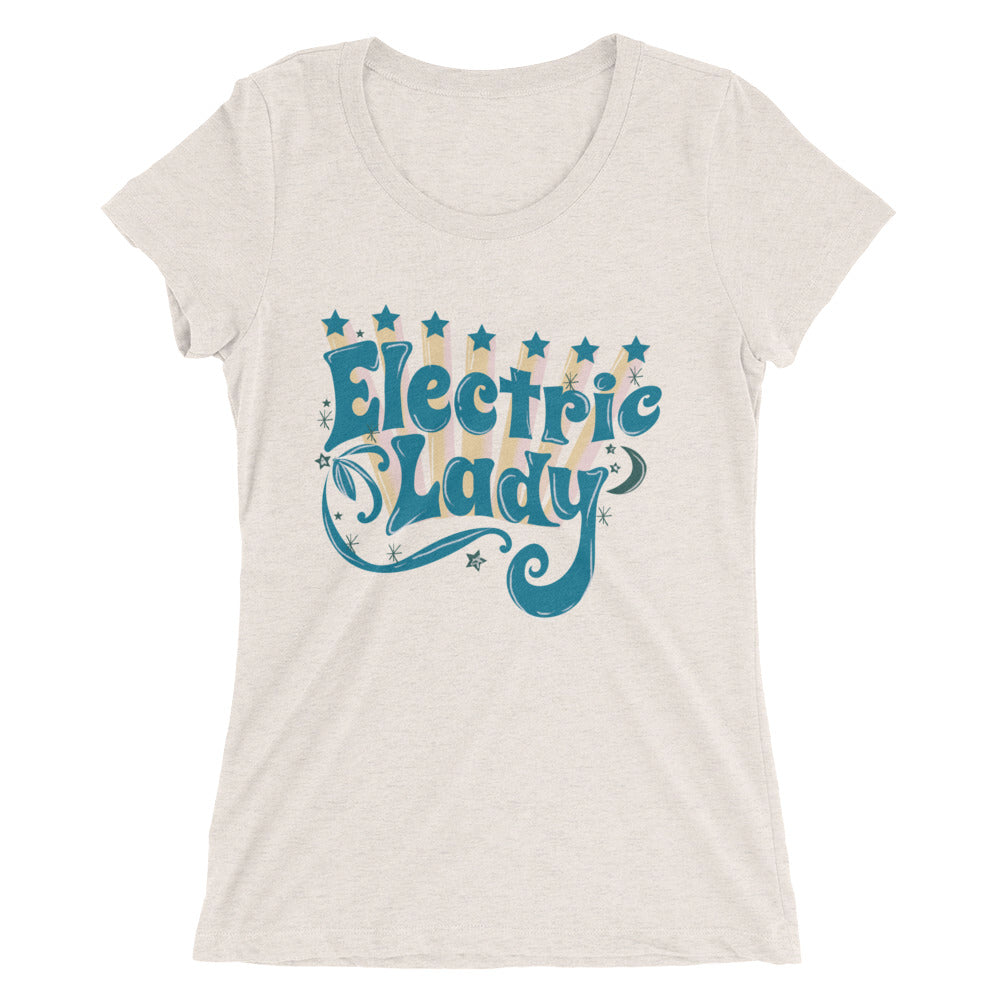 Women's tops like this vintage inspired Electric Lady tee are perfect for festivals & concerts from Coachella to Bonnaroo. Super-soft & form-fitting with low neckline, grab this bargain in form flattering sizes - S M L XL 2XL (Length in inches - 26 26 ½ 27)
